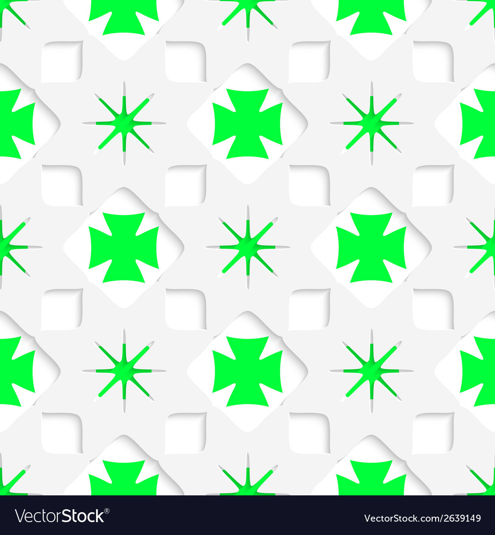 White stars with green inner parts seamless vector | Price: 1 Credit (USD $1)