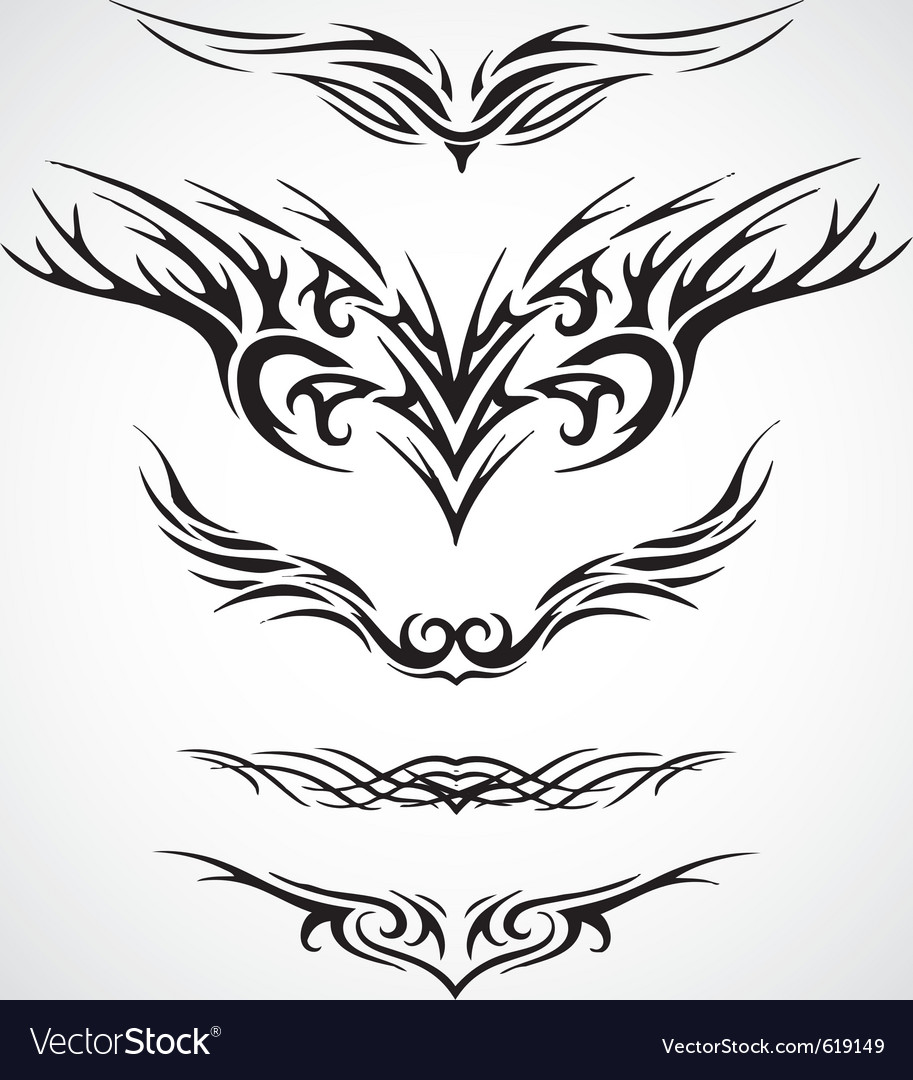 Wings tribal style tattoo design vector | Price: 1 Credit (USD $1)