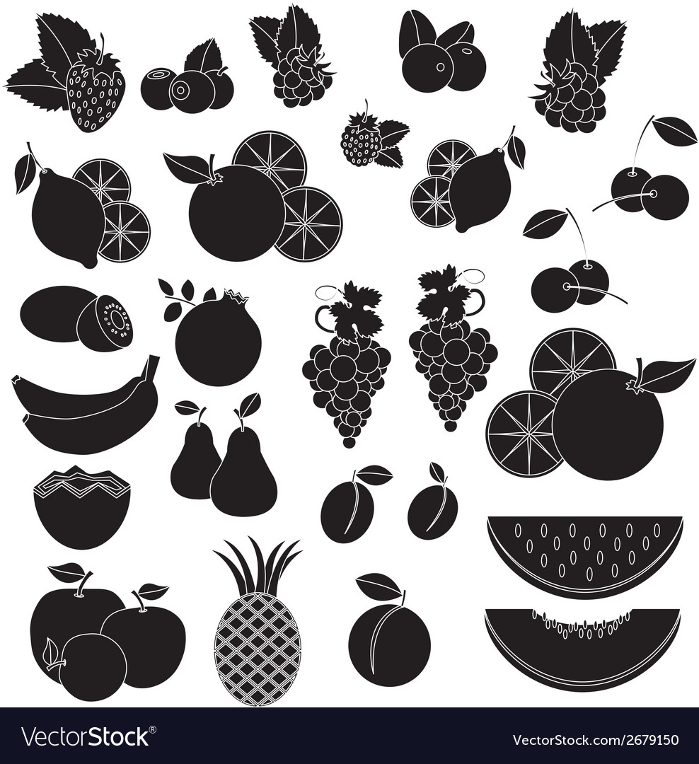 Black white vcetor icons - fruits and berries vector | Price: 1 Credit (USD $1)