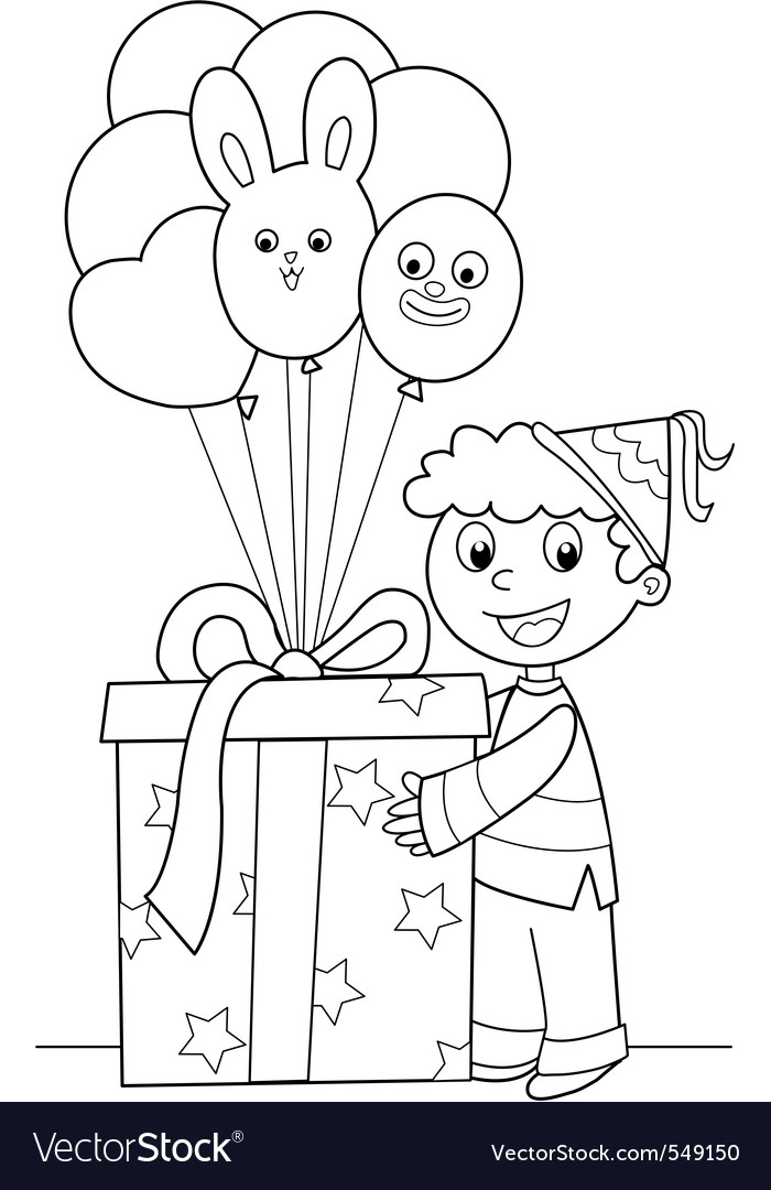 Boy with big gift and balloons vector | Price: 1 Credit (USD $1)