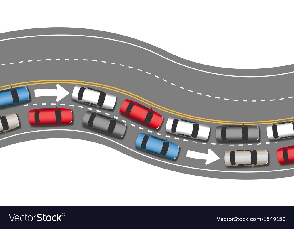Cars travel traffic go one direction vector | Price: 1 Credit (USD $1)