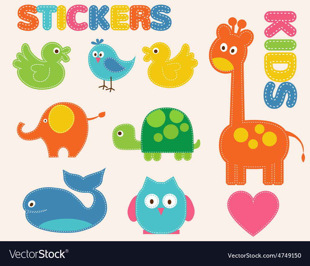 Colorful animals set stickers for kids vector | Price: 1 Credit (USD $1)