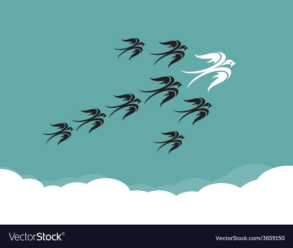 Flock of birdsswallow flying in the sky vector | Price: 1 Credit (USD $1)