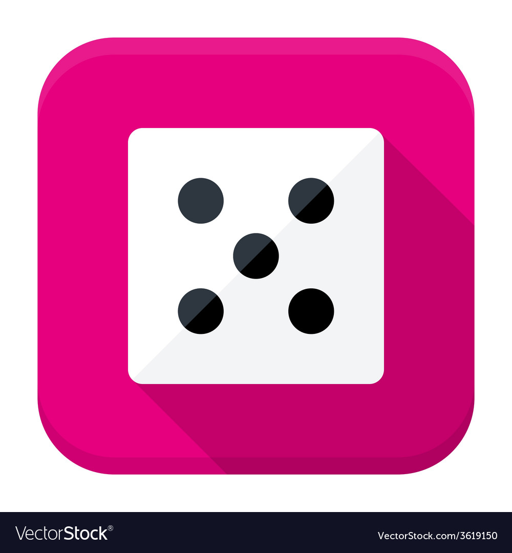 Game dice flat app icon with long shadow vector | Price: 1 Credit (USD $1)