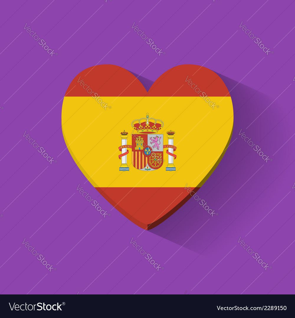 Heart-shaped icon with flag of spain vector | Price: 1 Credit (USD $1)