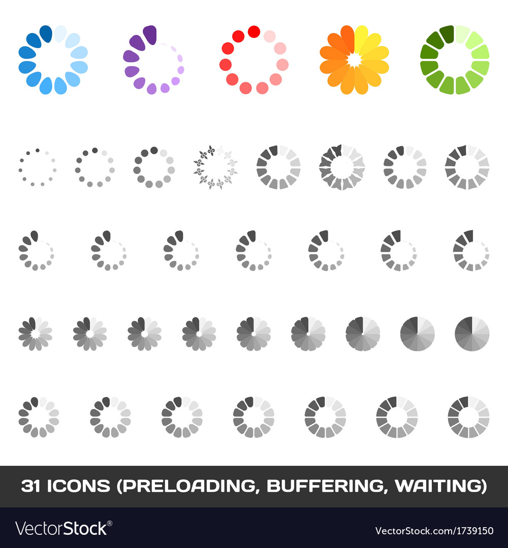 Loading and buffering icon set preloaders vector | Price: 1 Credit (USD $1)