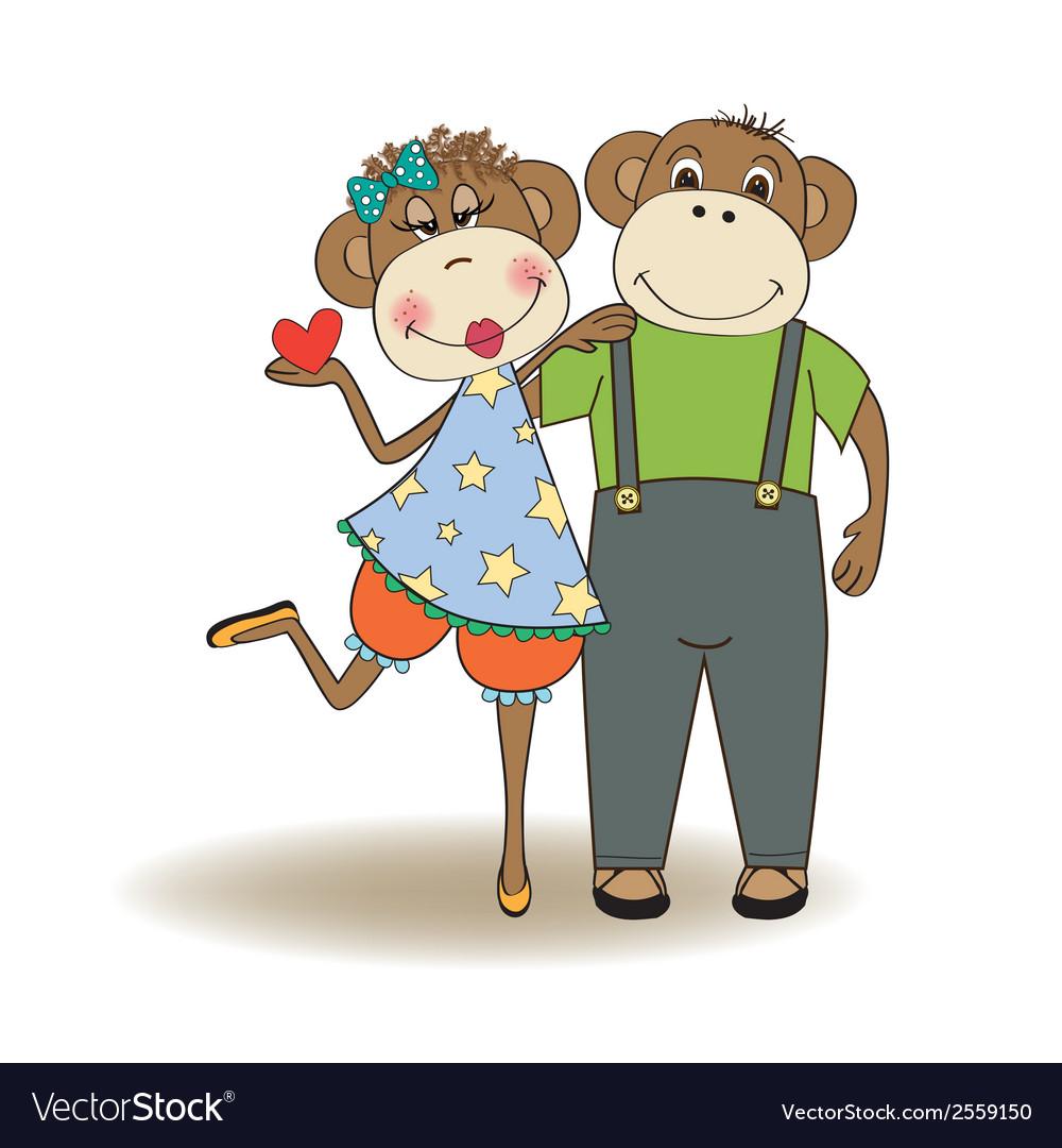 Monkeys couple in love vector | Price: 1 Credit (USD $1)