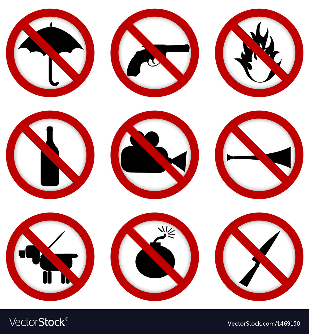 Prohibited signs for stadium access vector | Price: 1 Credit (USD $1)