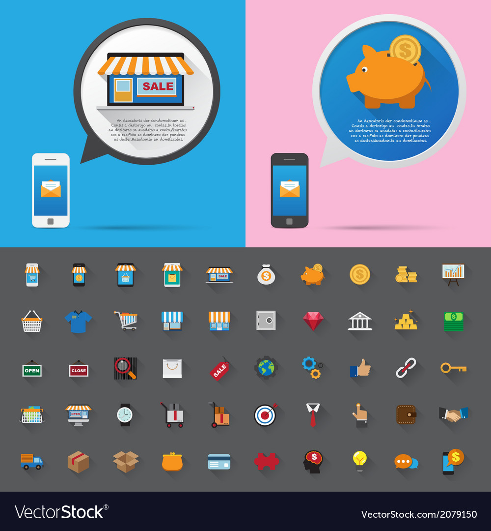 Smartphone alert and flat icons collection set 1 vector | Price: 1 Credit (USD $1)