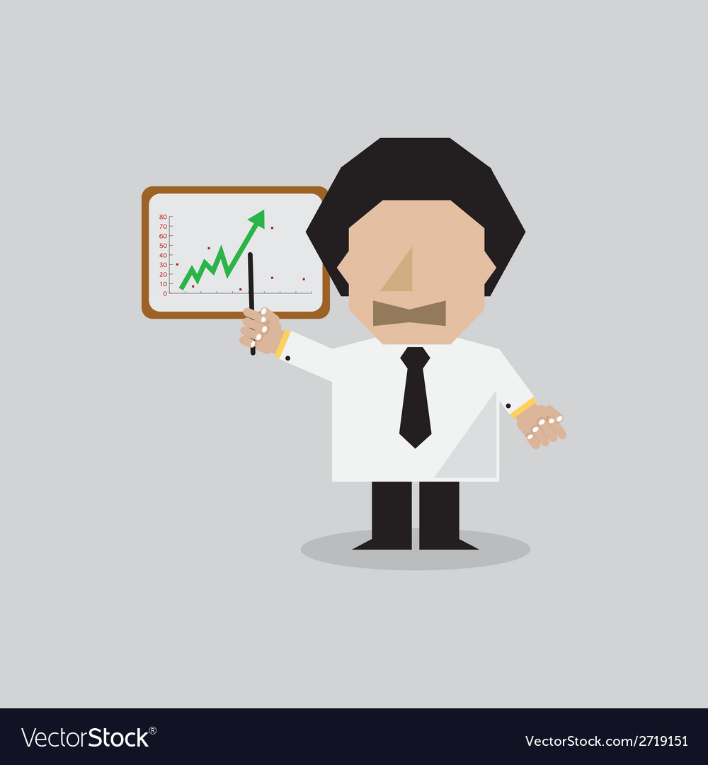 Businessman presenting the success chart vector | Price: 1 Credit (USD $1)