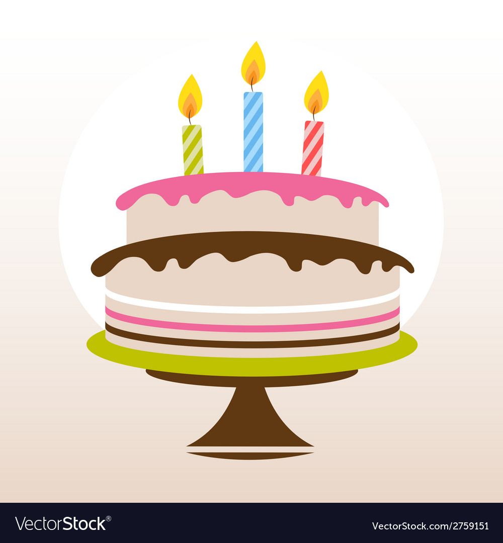 Color birthday cake vector | Price: 1 Credit (USD $1)