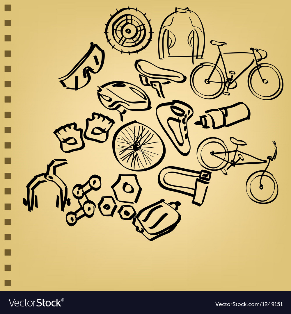Doodle bicycle icon set vector | Price: 1 Credit (USD $1)