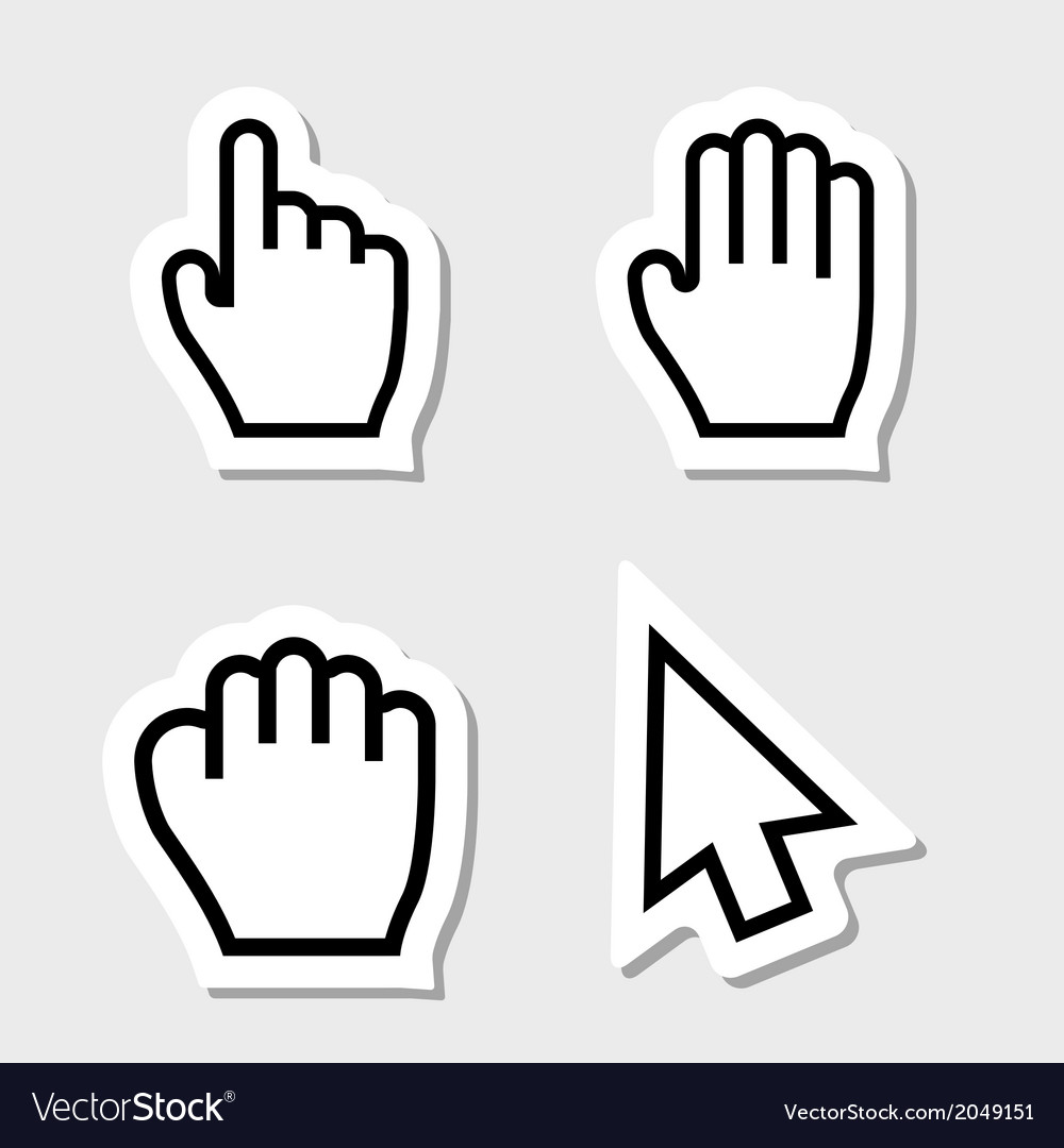 Hand cursors icons as labels vector | Price: 1 Credit (USD $1)