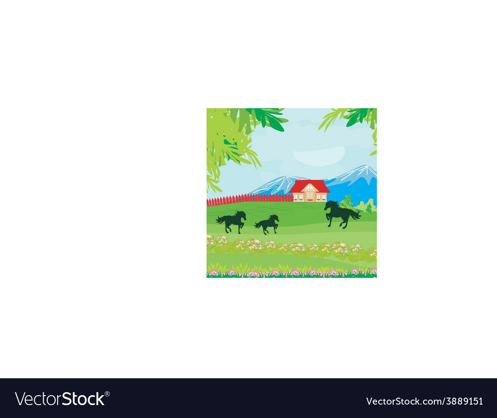 Horses grazing in a pasture with mountains vector | Price: 1 Credit (USD $1)