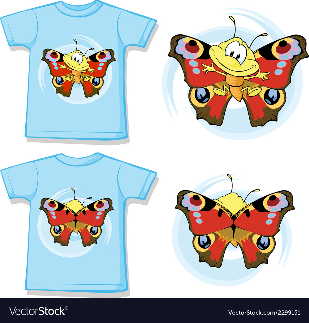 Kid shirt with cute butterfly printed vector | Price: 1 Credit (USD $1)