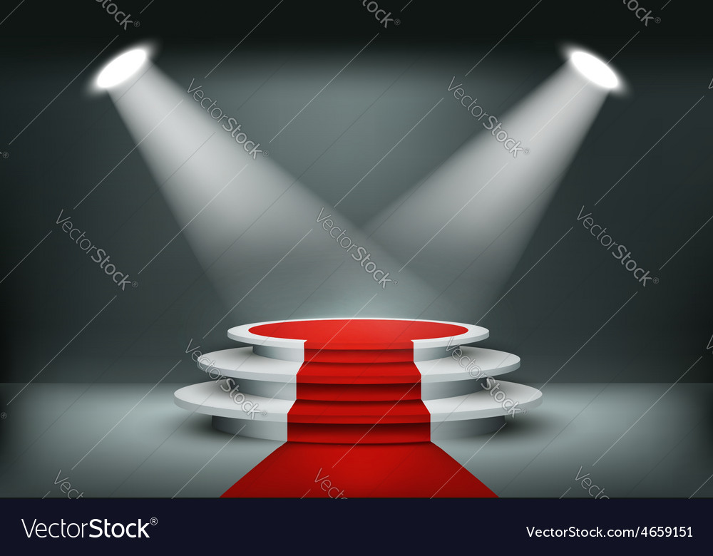 Showroom background with a red carpet vector | Price: 3 Credit (USD $3)