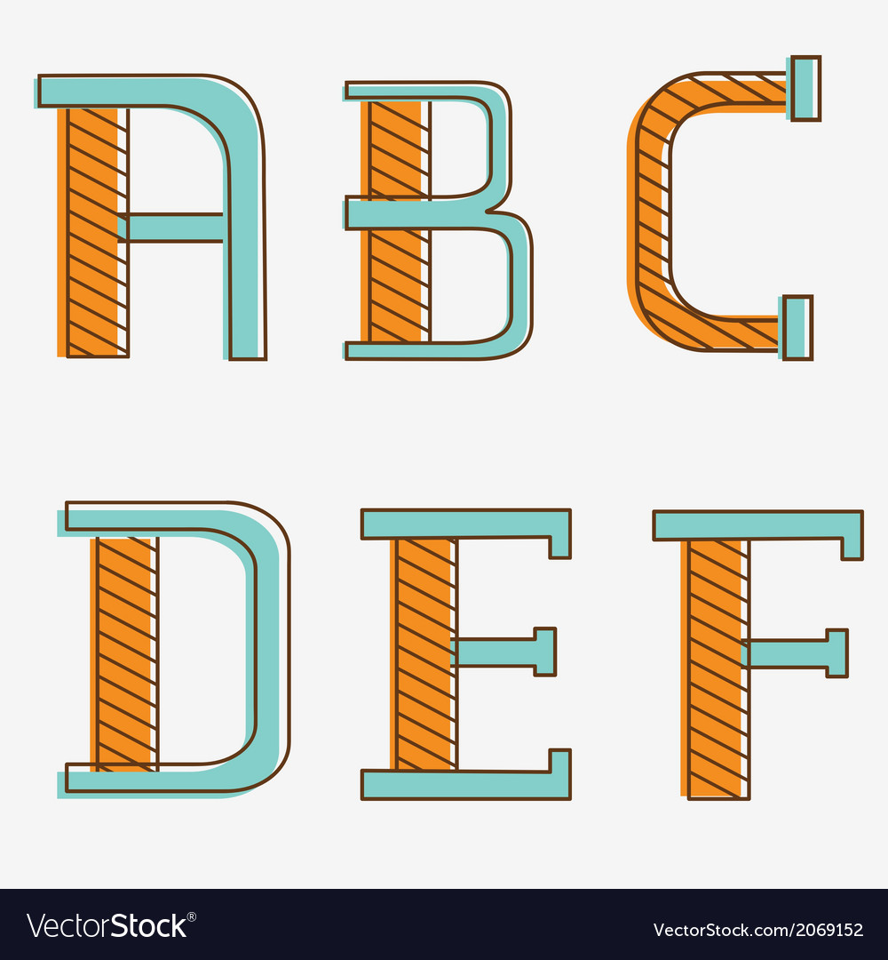 Alphabet letters a b c d e f vector | Price: 1 Credit (USD $1)