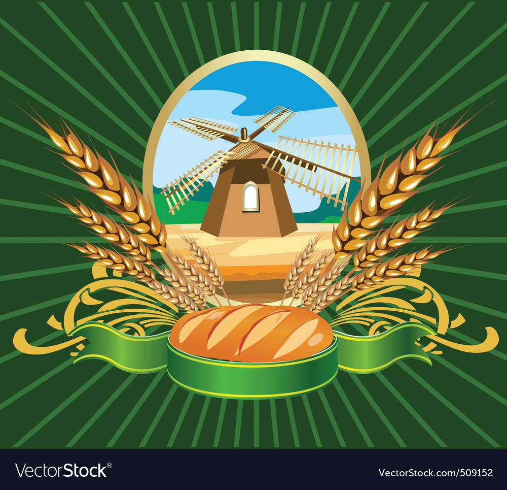 Bread wheat label vector | Price: 1 Credit (USD $1)