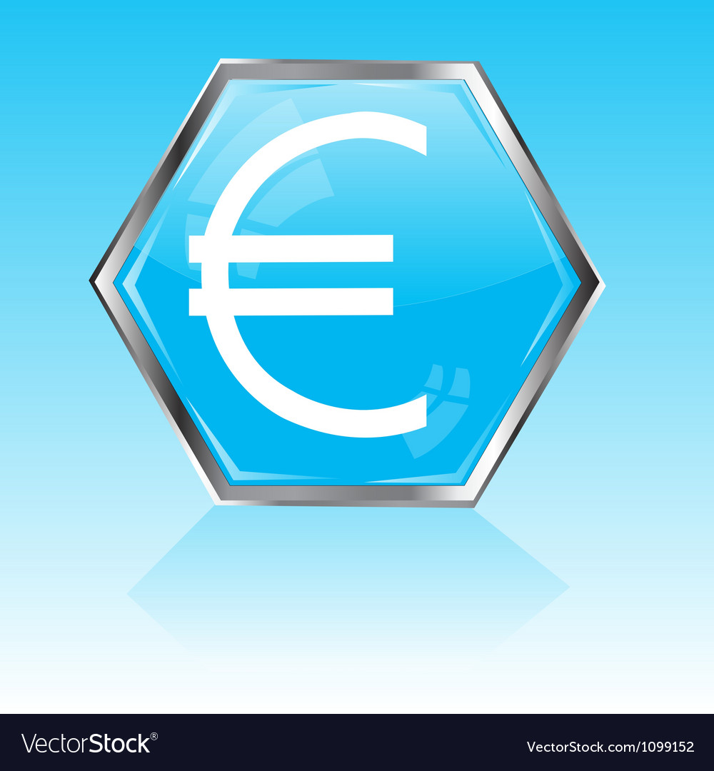 Button with sign euro vector | Price: 1 Credit (USD $1)