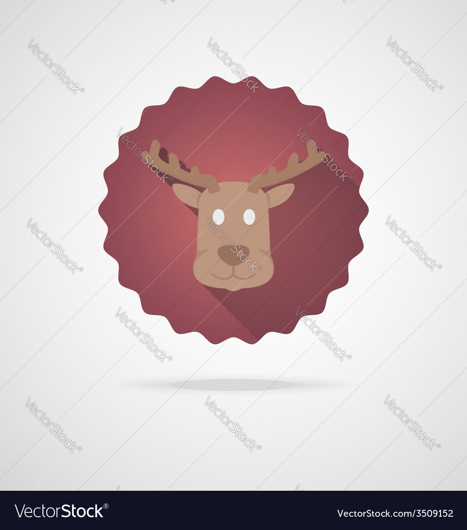Deer head icon on white background vector | Price: 1 Credit (USD $1)