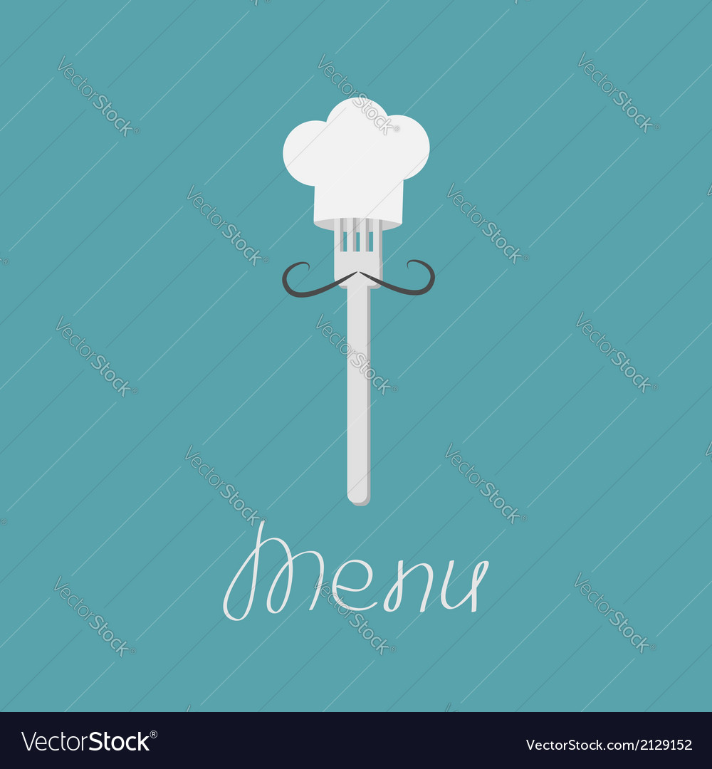Fork with mustache and chefs hat menu card vector | Price: 1 Credit (USD $1)