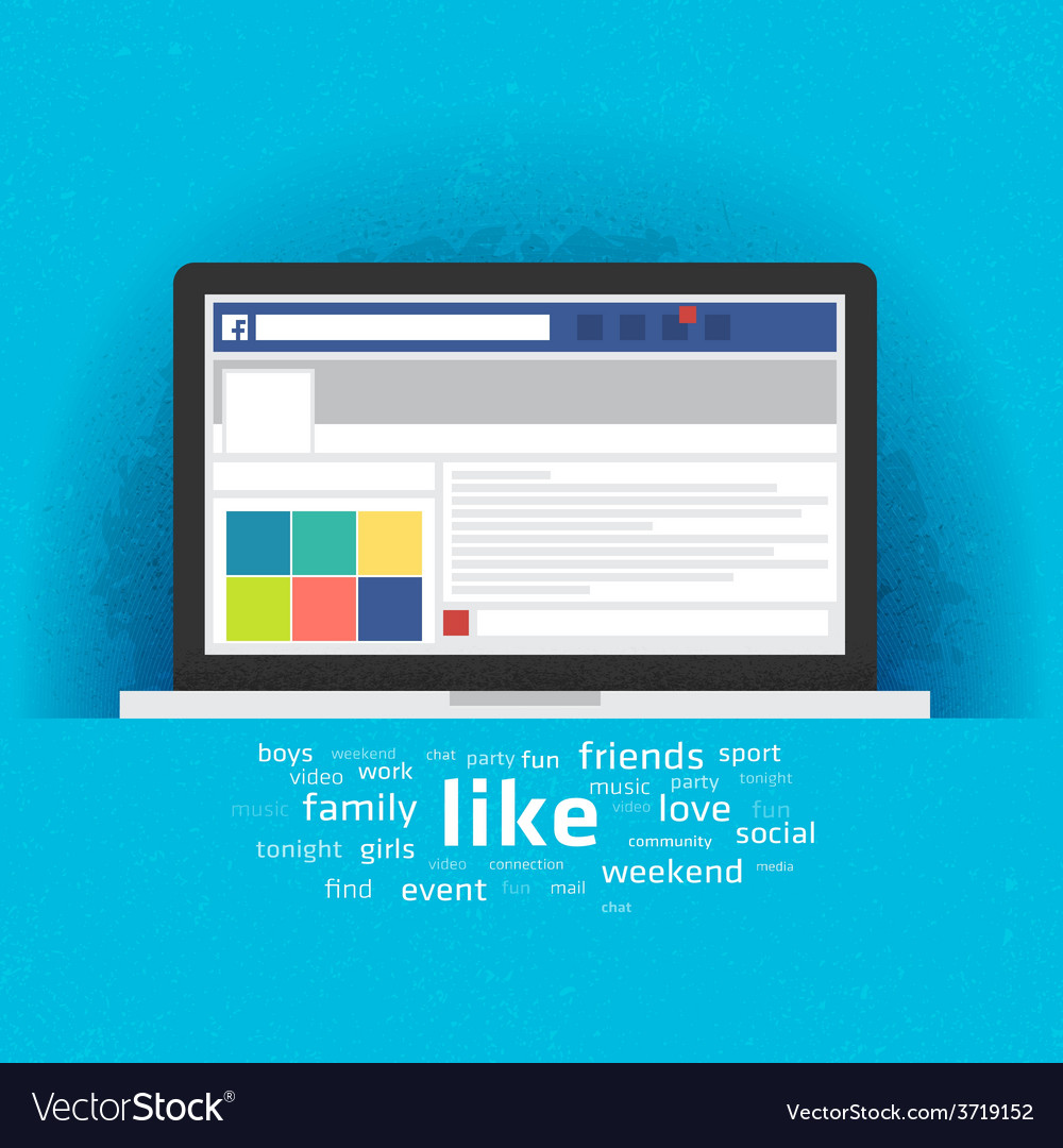 Laptop with social network internet page vector | Price: 1 Credit (USD $1)