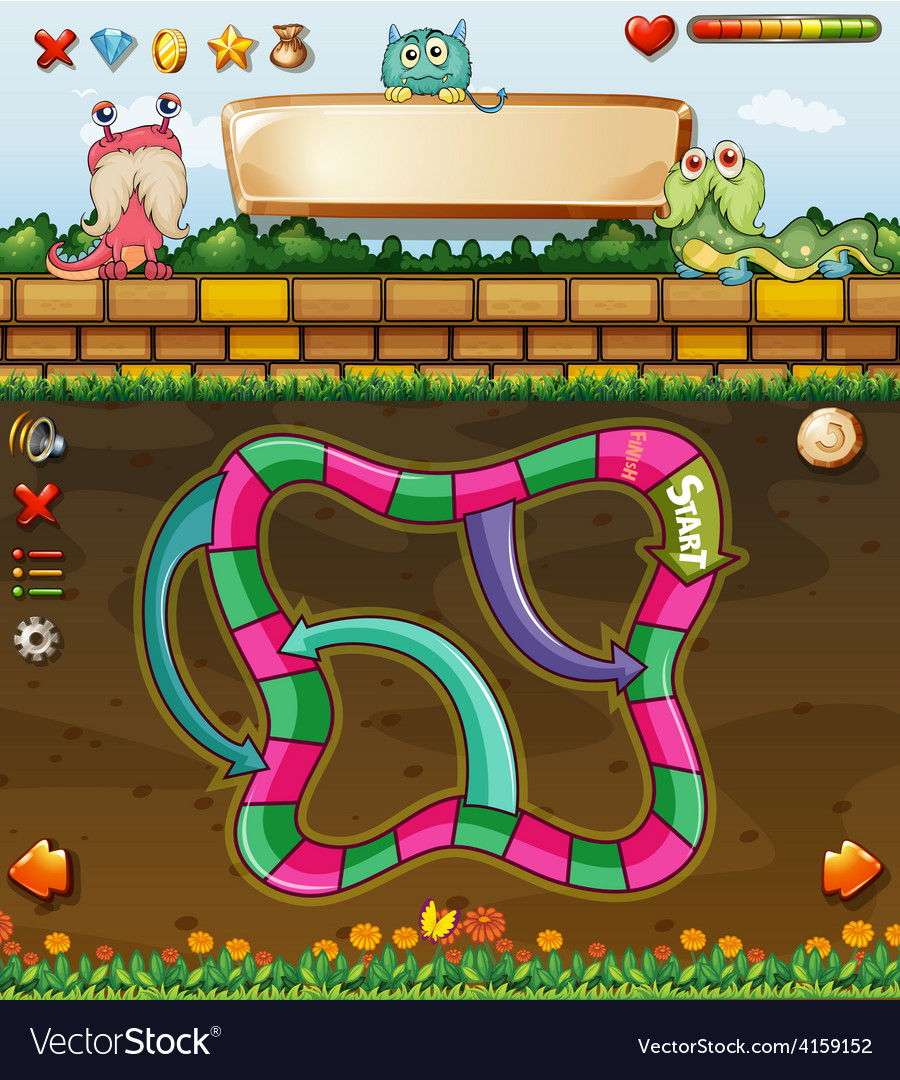 Maze game and monster vector | Price: 3 Credit (USD $3)