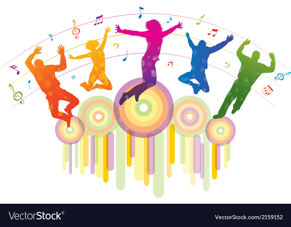 Music background with dancing people vector | Price: 1 Credit (USD $1)