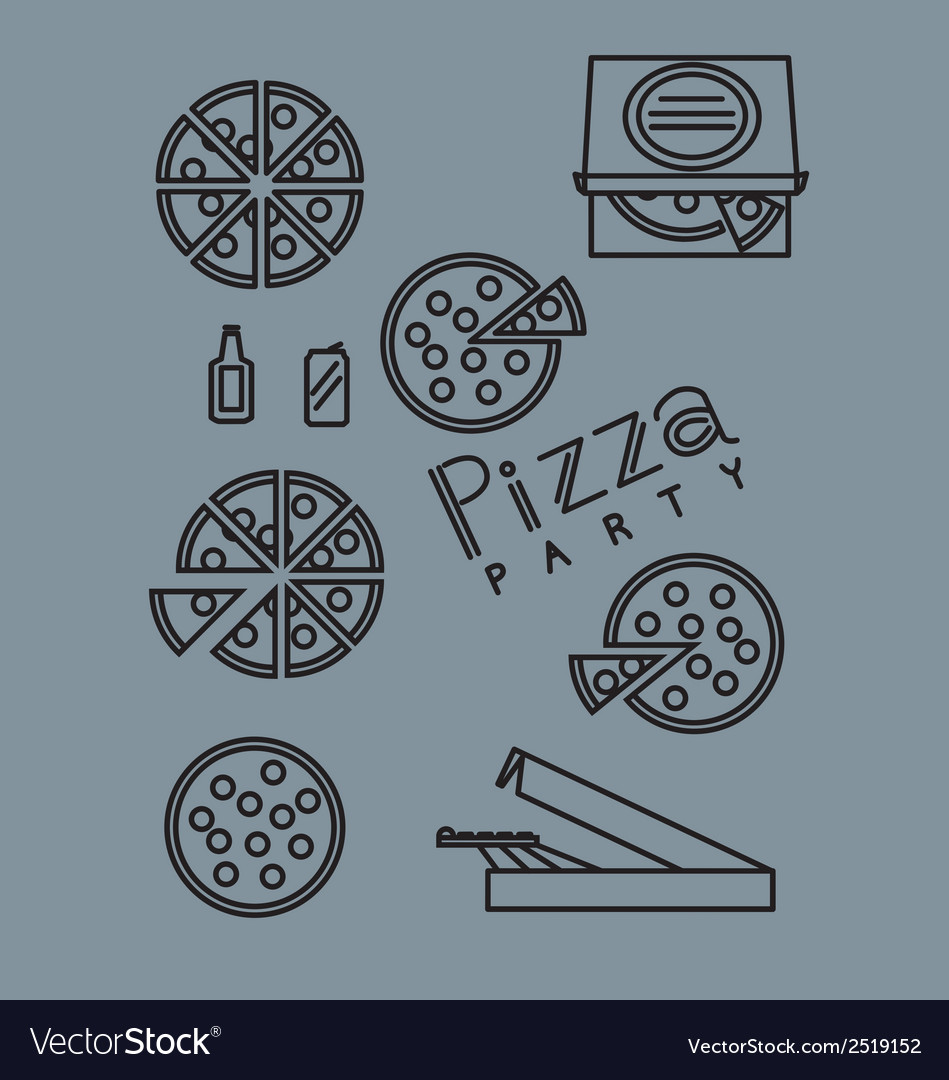 Pizza party vector | Price: 1 Credit (USD $1)