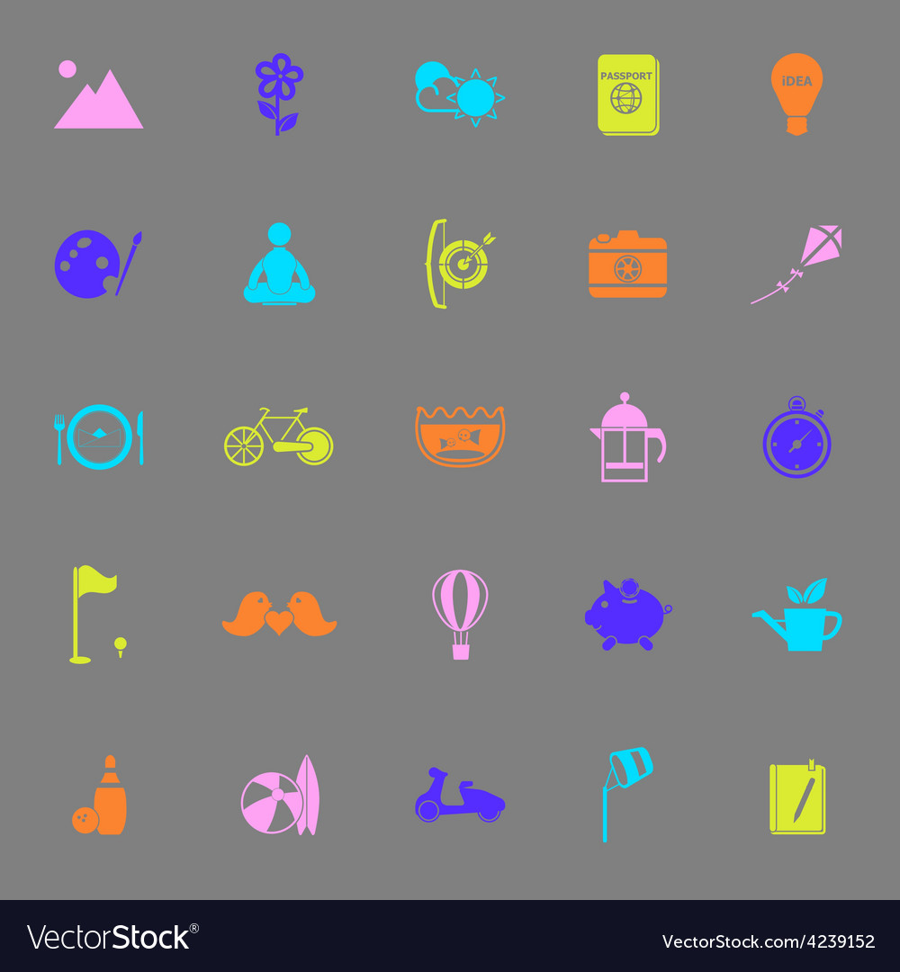 Slow life activity color icons on gray background vector | Price: 1 Credit (USD $1)
