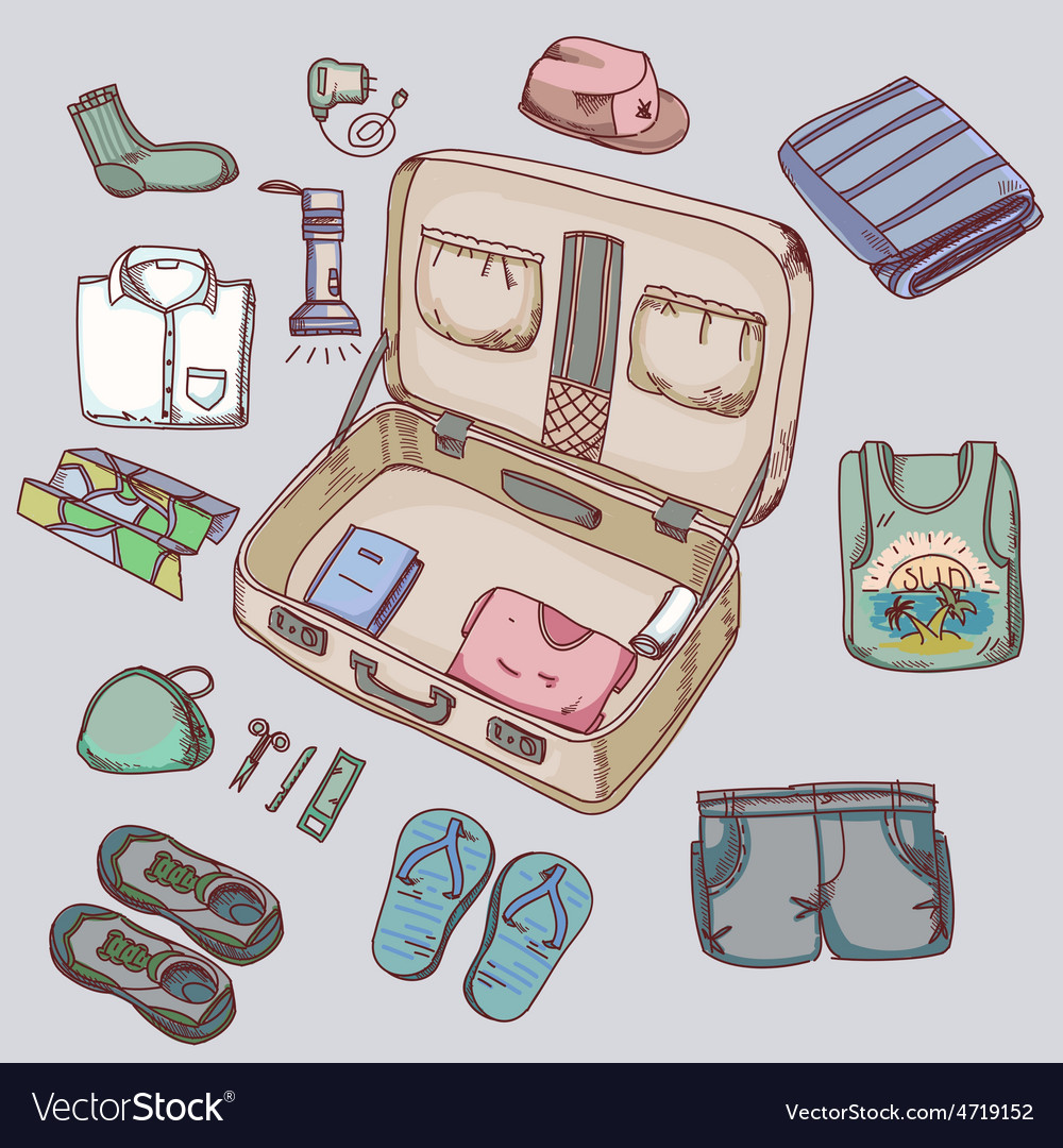 Suitcase with things clothing for travelling vector | Price: 1 Credit (USD $1)