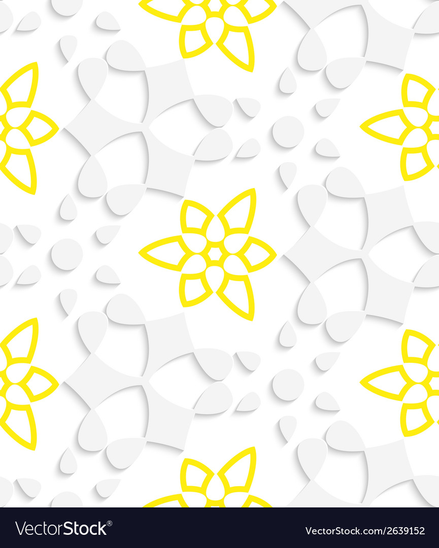 White geometrical floristic with yellow layering vector | Price: 1 Credit (USD $1)