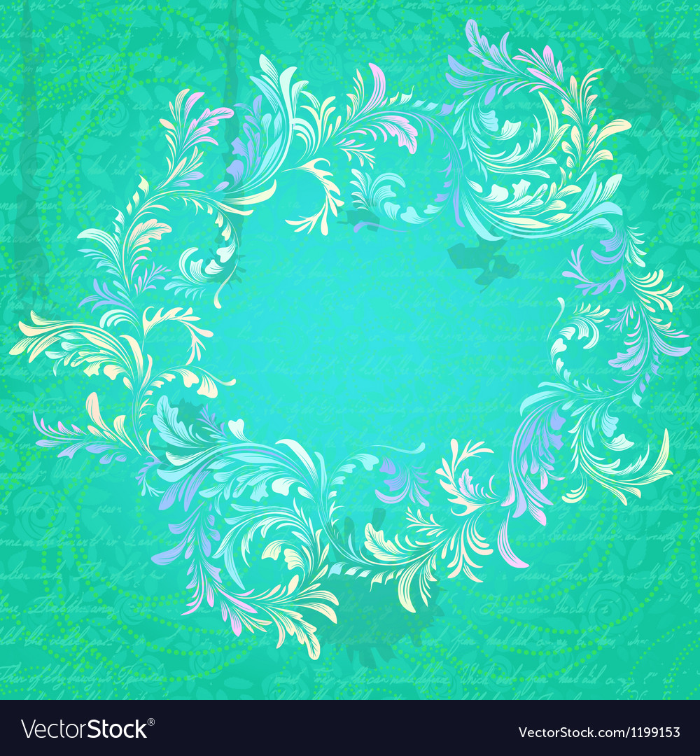Antique turquoise floral frame on grungy parchment vector | Price: 1 Credit (USD $1)