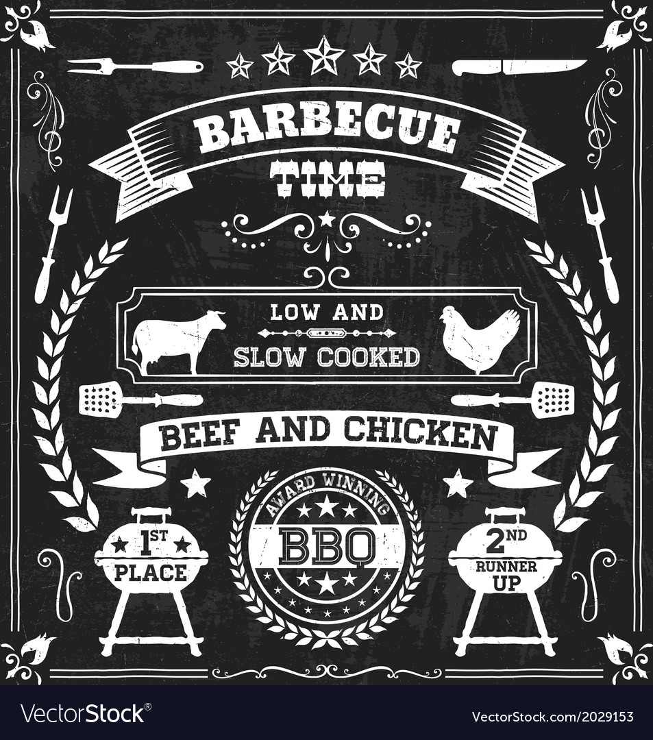 Bbq chalkboard vector | Price: 1 Credit (USD $1)