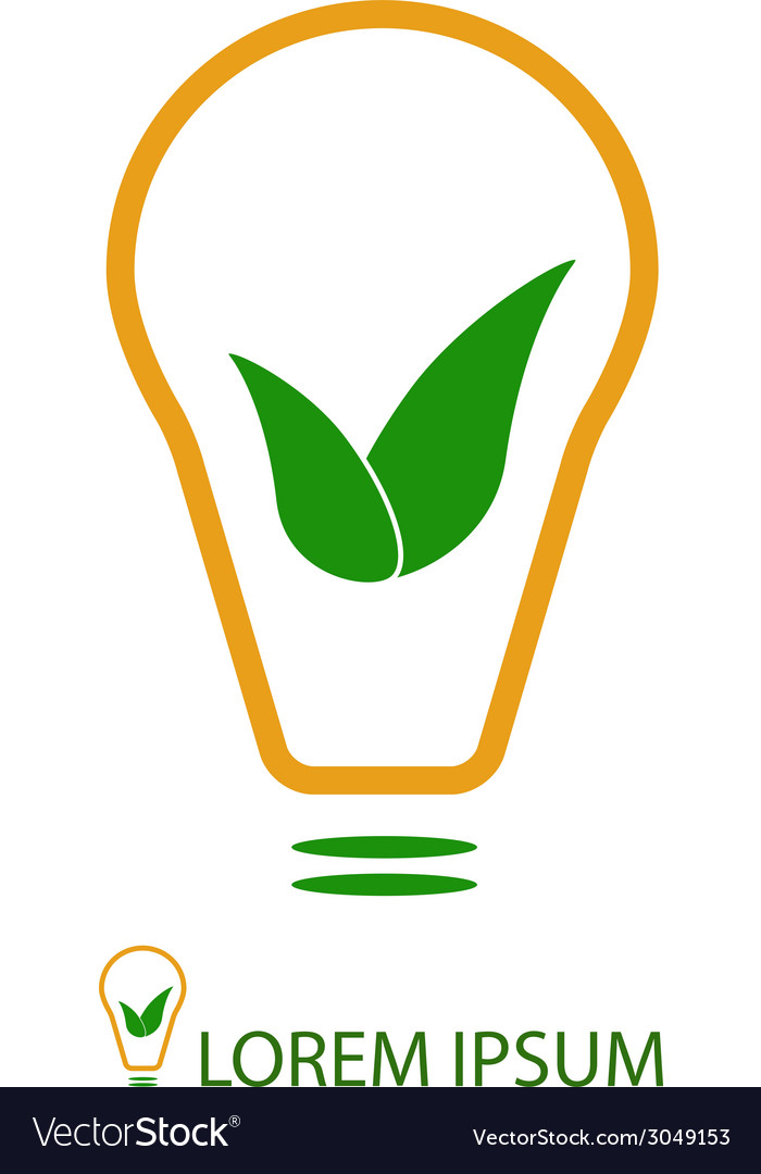 Bulb with green leaves as eco energy sign vector | Price: 1 Credit (USD $1)