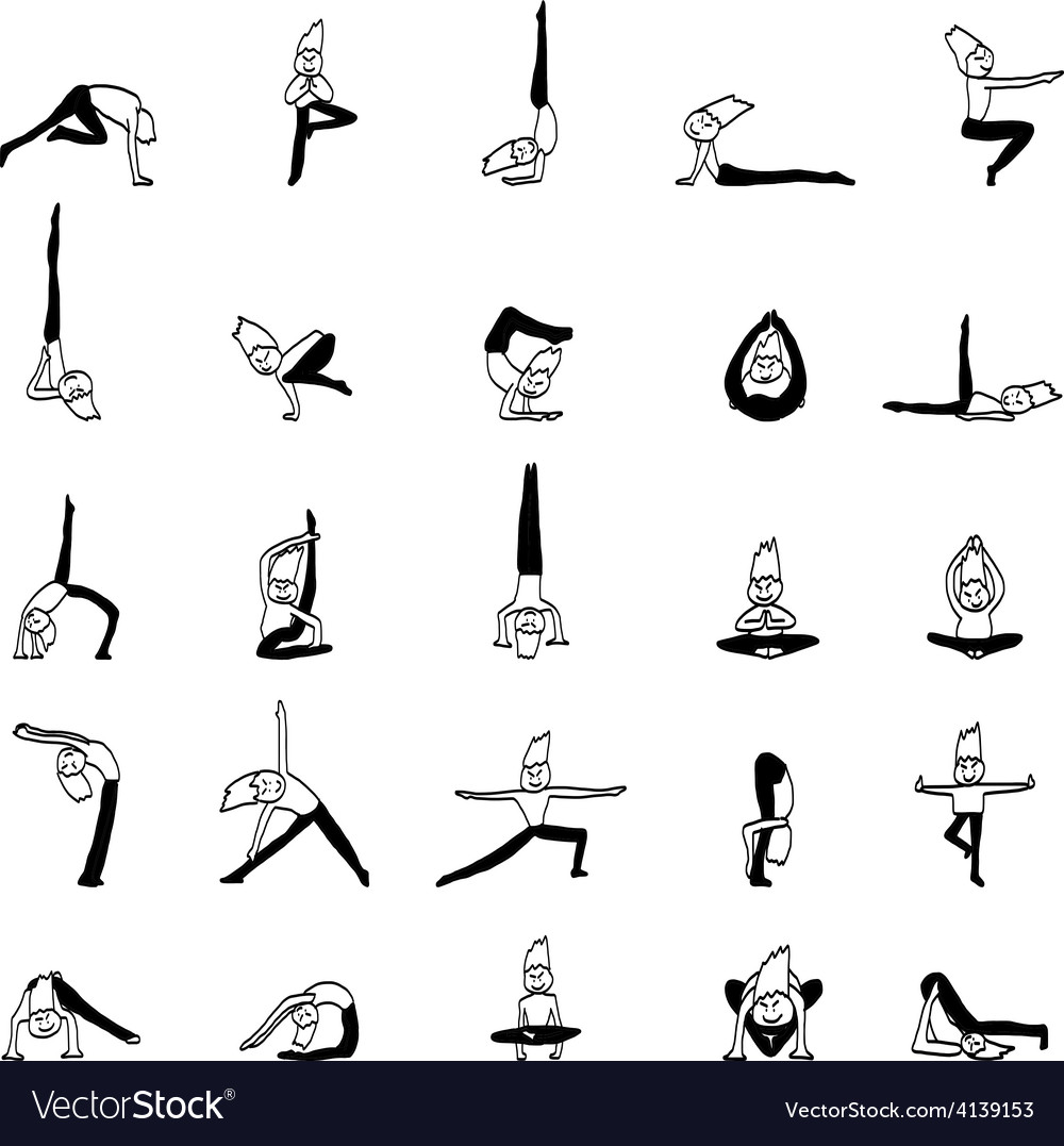 Cartoon character man practicing yoga for design vector | Price: 1 Credit (USD $1)