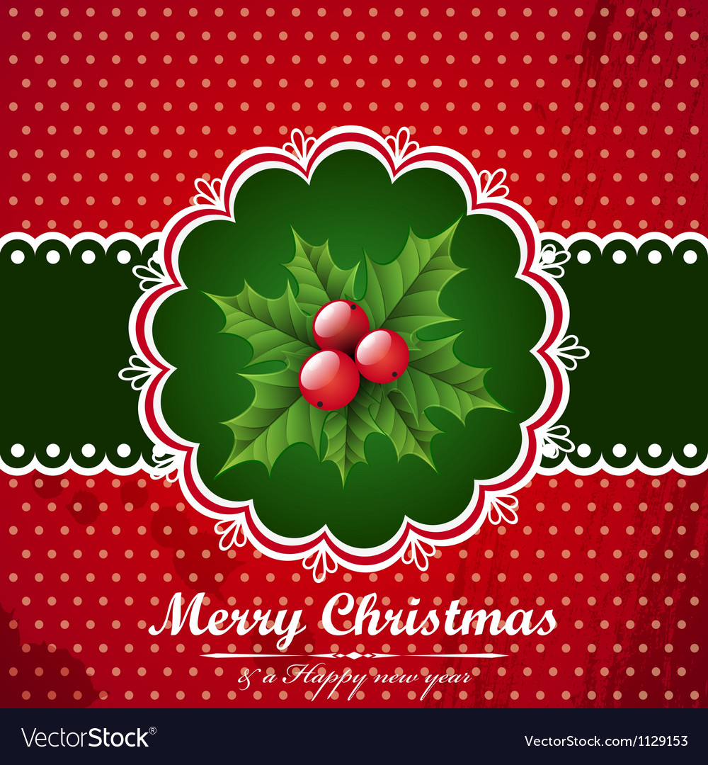 Christmas vintage background with holly berry vector | Price: 1 Credit (USD $1)