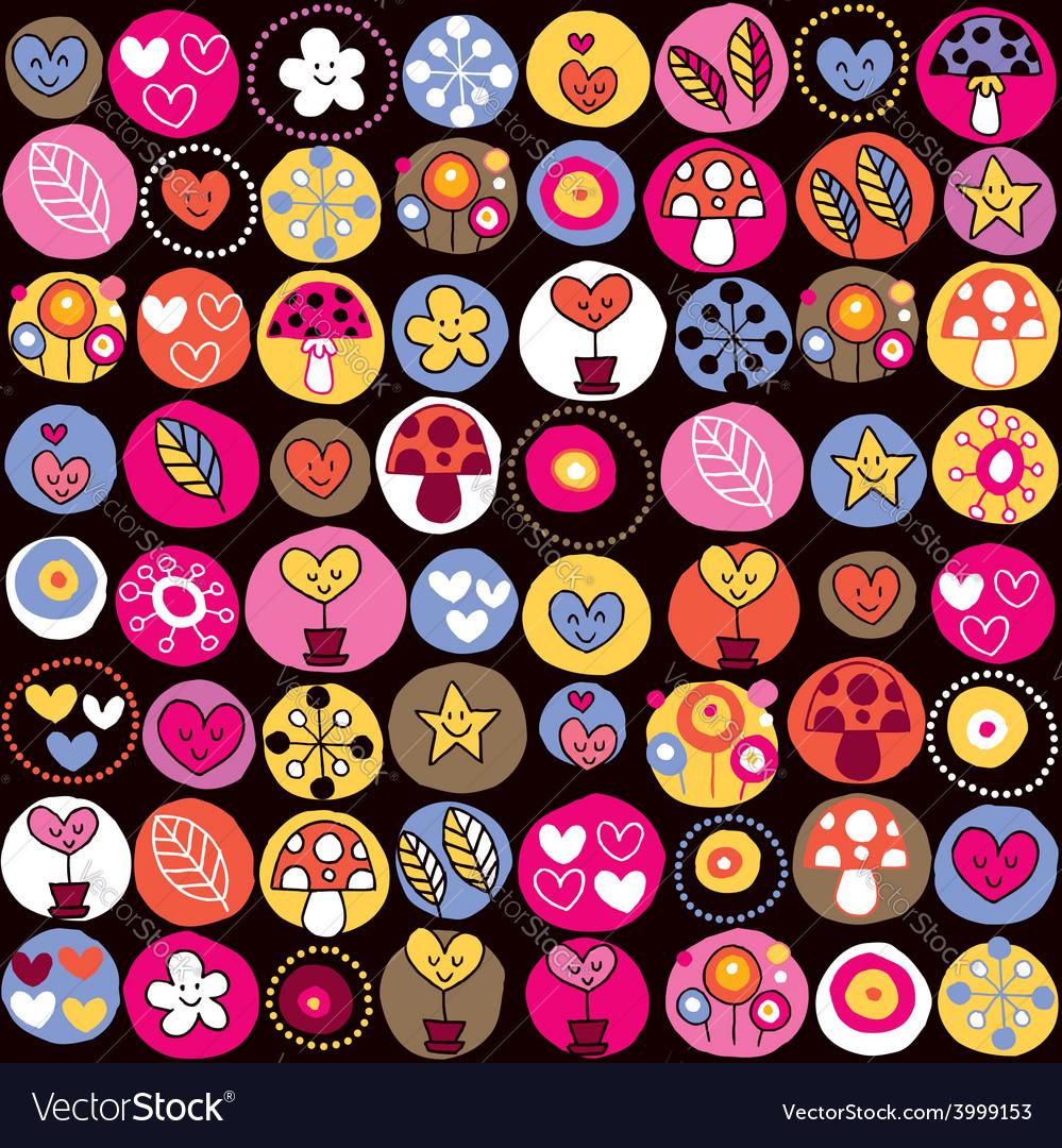 Cute hearts mushrooms flowers pattern vector | Price: 1 Credit (USD $1)