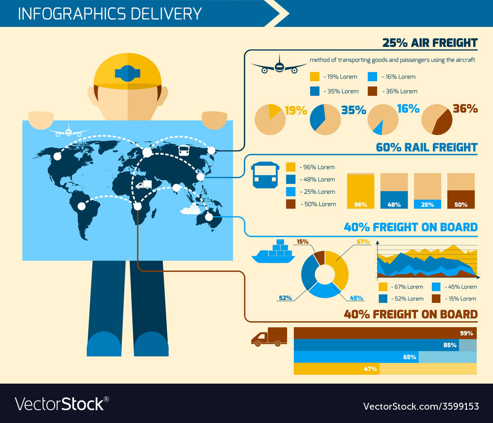 Delivery man infographics vector | Price: 1 Credit (USD $1)