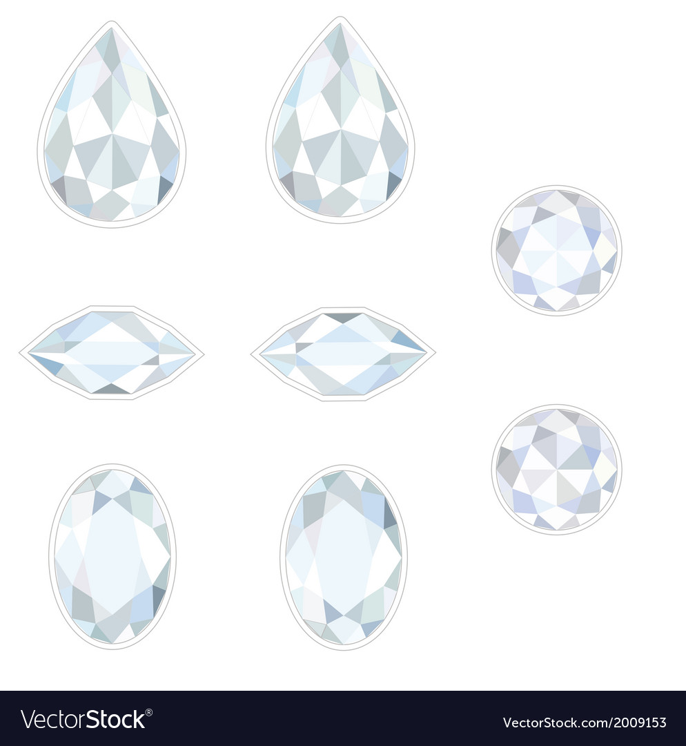 Diamond set isolated objects vector | Price: 1 Credit (USD $1)