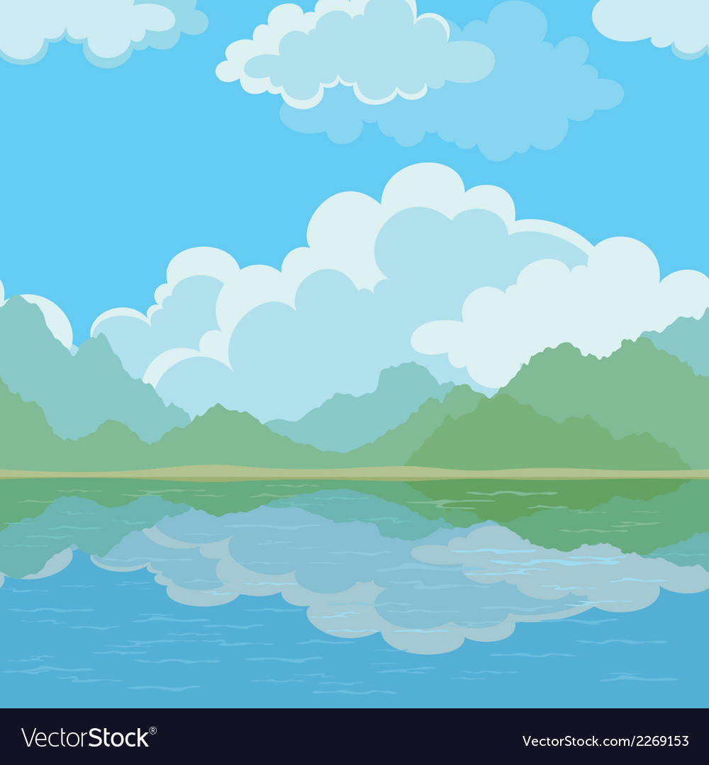 Exotic seamless landscape sea and mountains vector | Price: 1 Credit (USD $1)