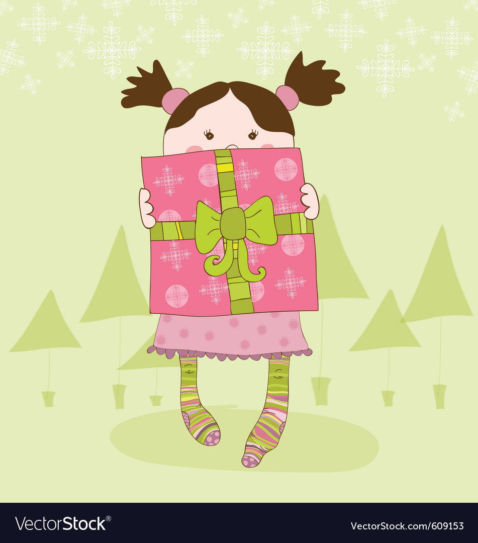 Girl with present chrismas card vector | Price: 1 Credit (USD $1)