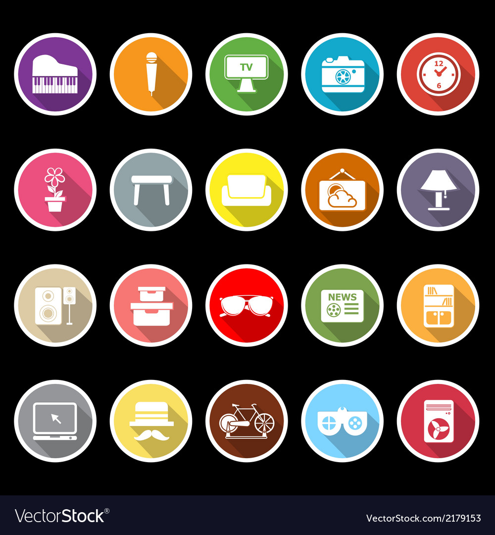 Living room icons with long shadow vector   Price: 1 Credit (USD $1)