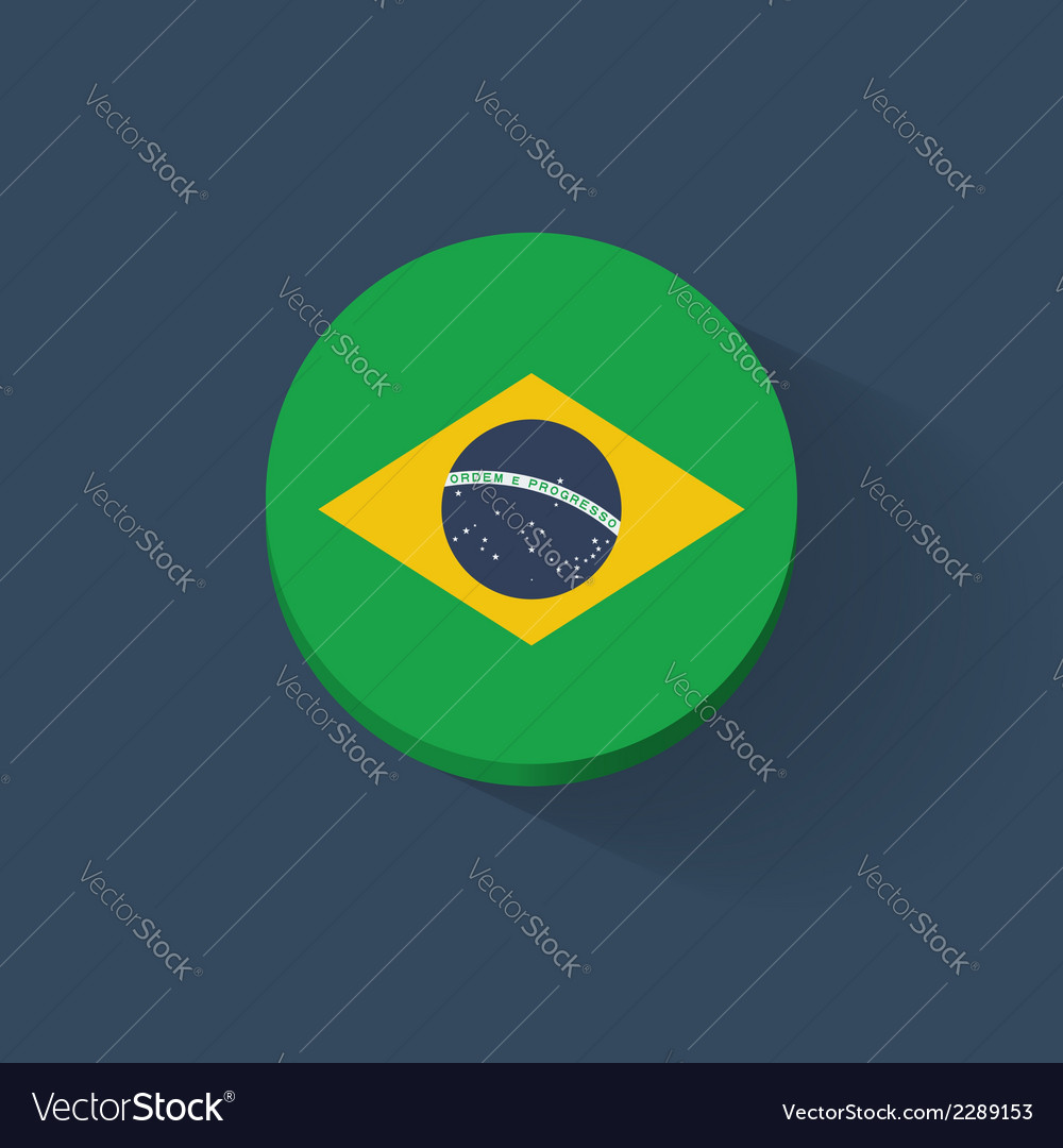 Round icon with flag of brazil vector | Price: 1 Credit (USD $1)