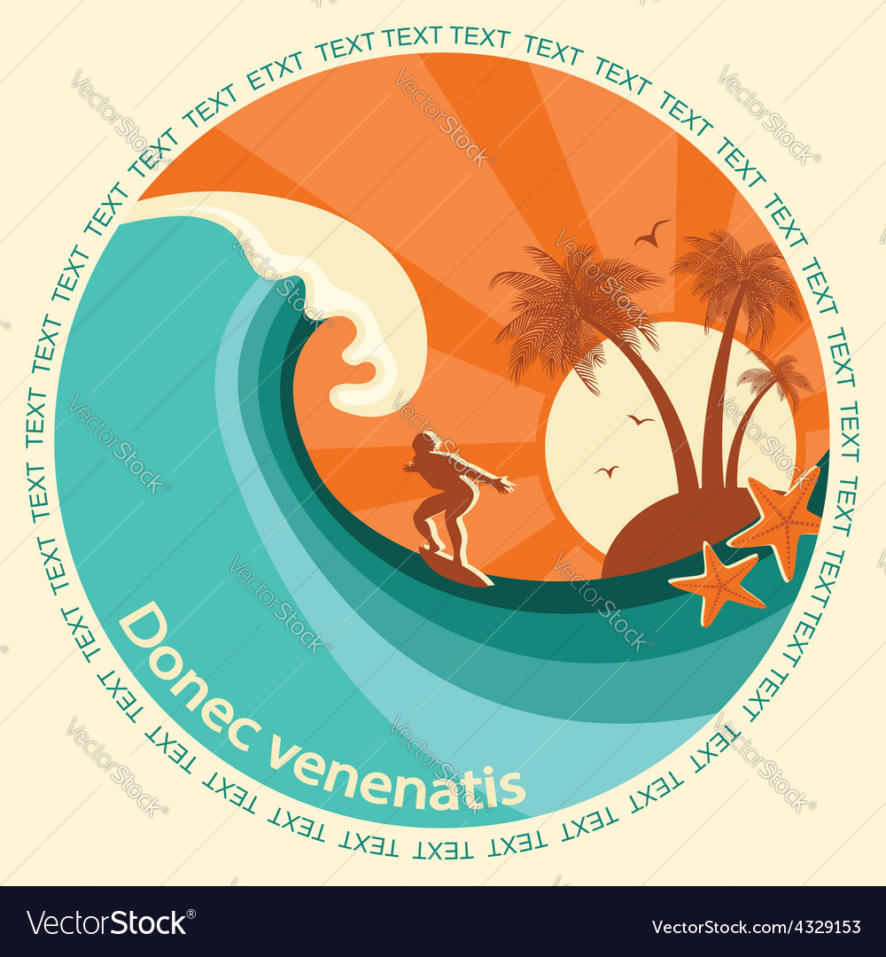 Surfering label vector | Price: 1 Credit (USD $1)