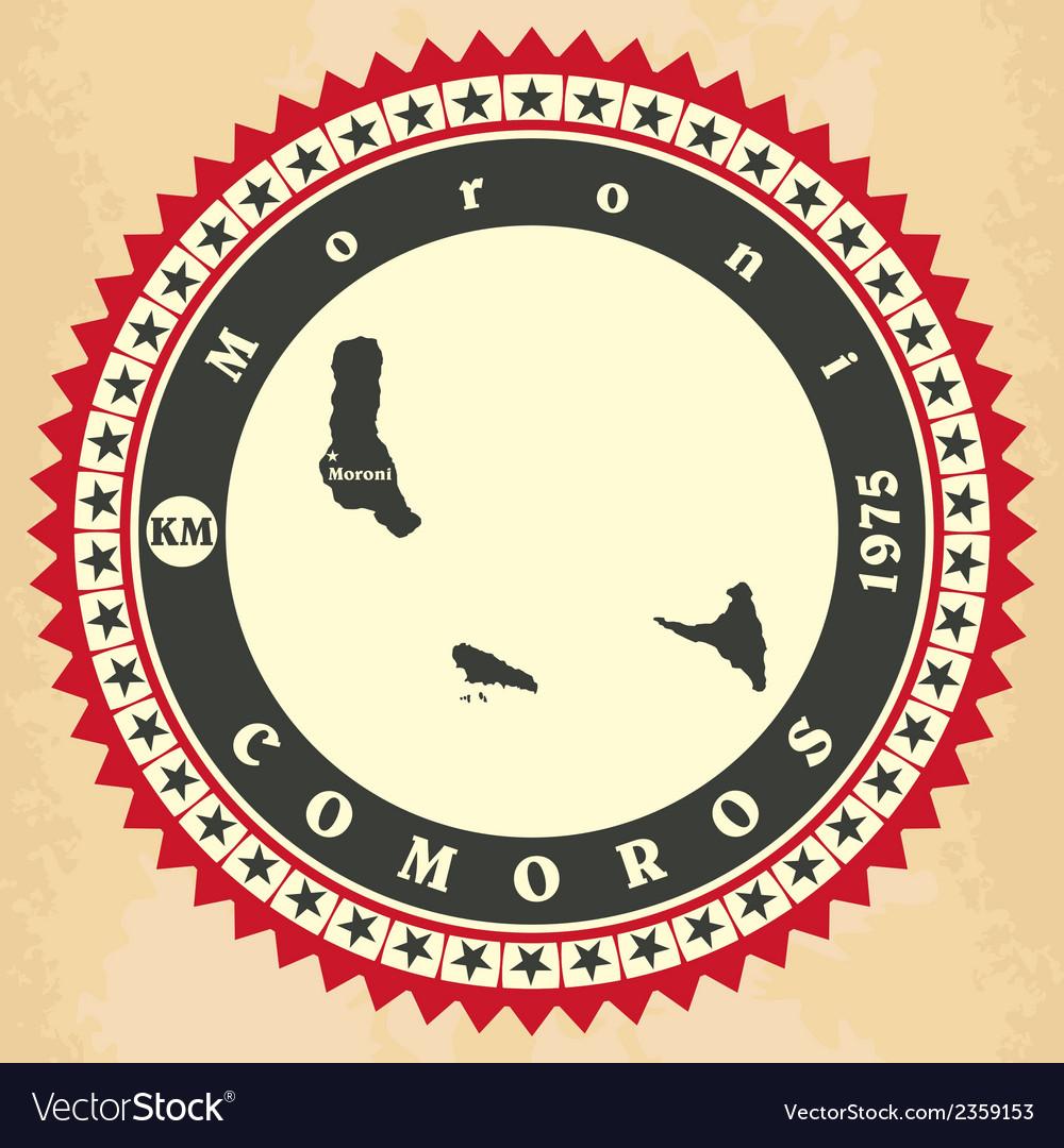 Vintage label-sticker cards of comoros vector | Price: 1 Credit (USD $1)