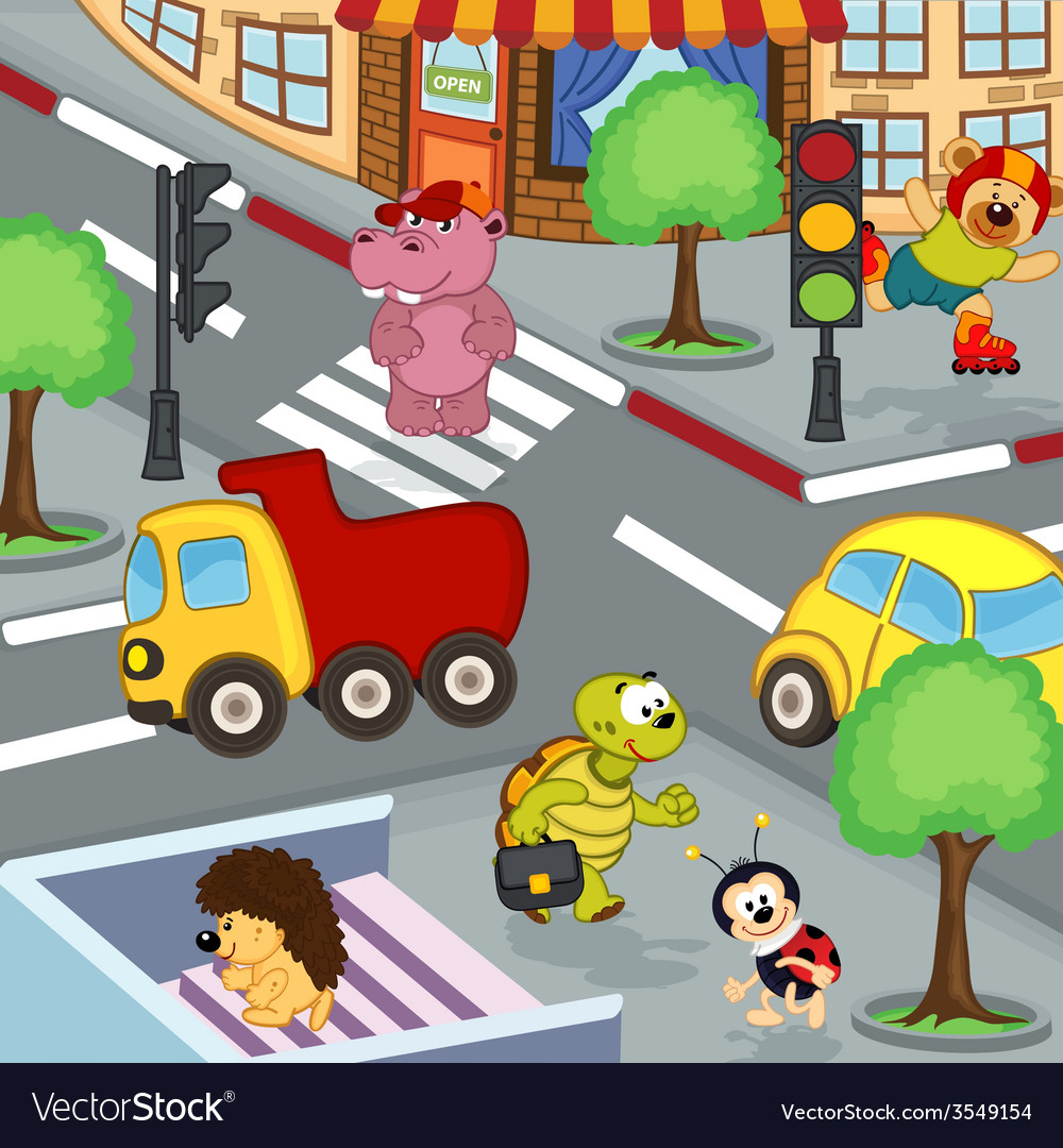 Animals at crossroads vector | Price: 1 Credit (USD $1)