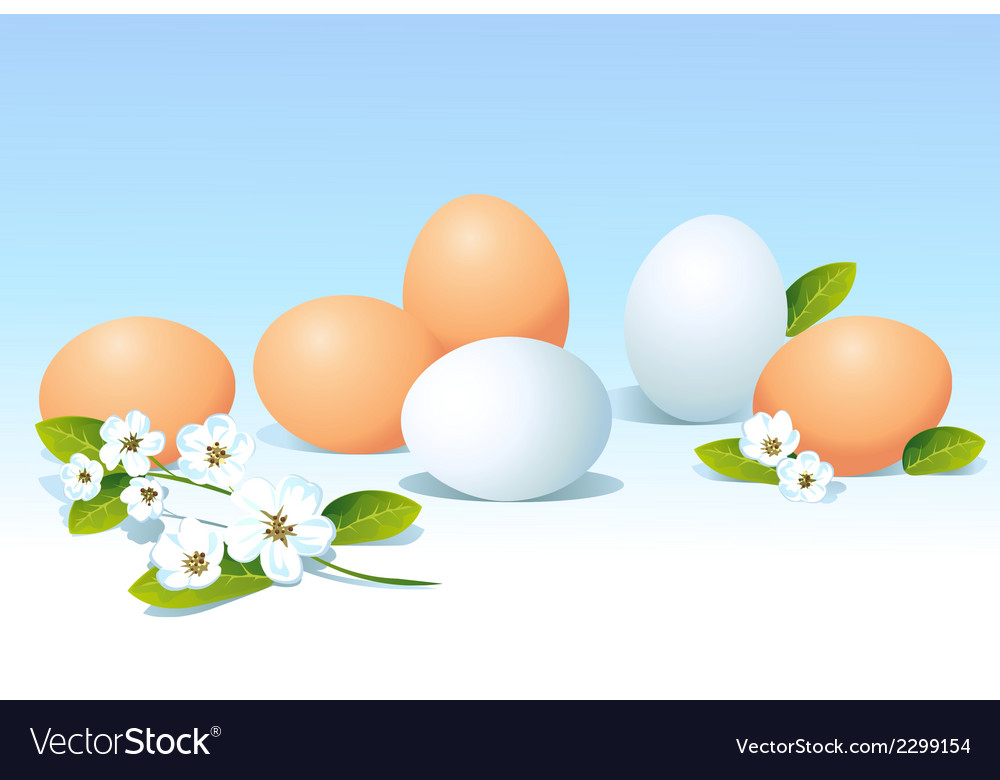 Eggs and spring flowers on blue background vector | Price: 1 Credit (USD $1)