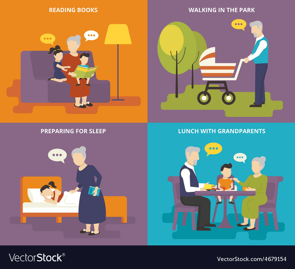 Grandparents are playing with children vector | Price: 1 Credit (USD $1)