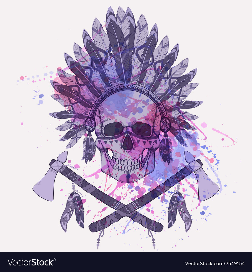 Grunge of human skull in native american ind vector | Price: 1 Credit (USD $1)